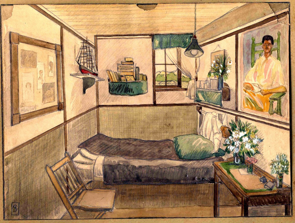 Federico Stallforth's Bunk, Fort Oglethorpe, GA, watercolor, 1918-1920